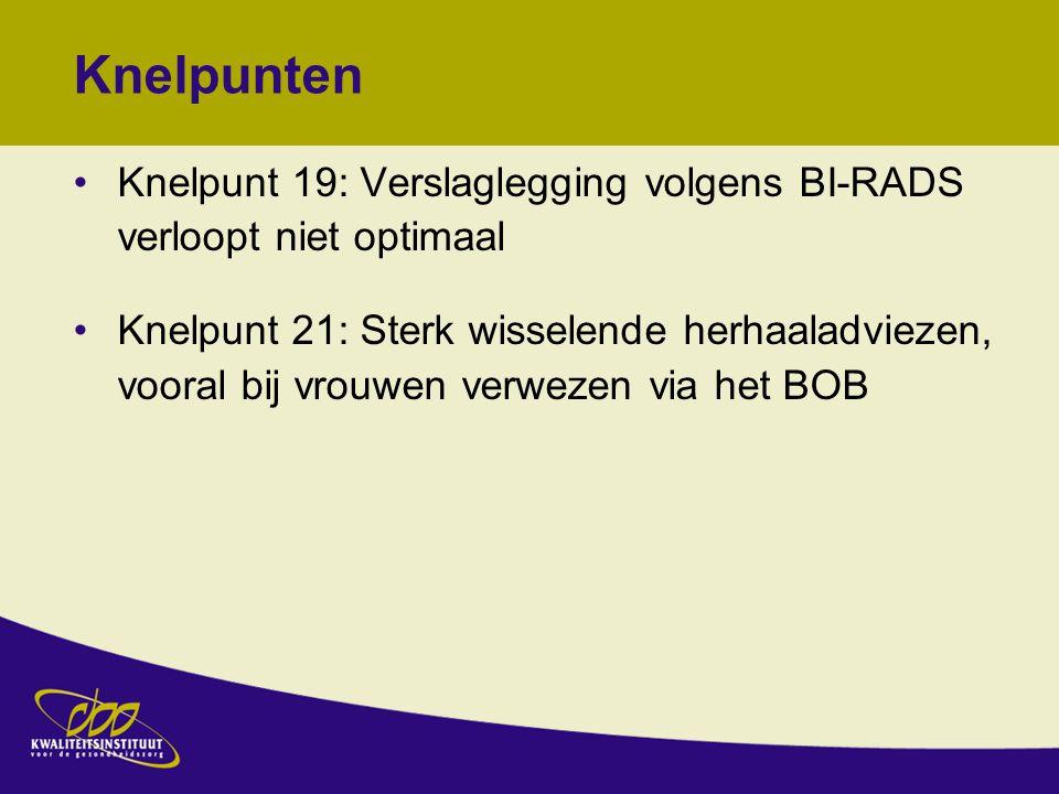 Knelpunten Knelpunt 19: Verslaglegging volgens BI-RADS verloopt niet optimaal.