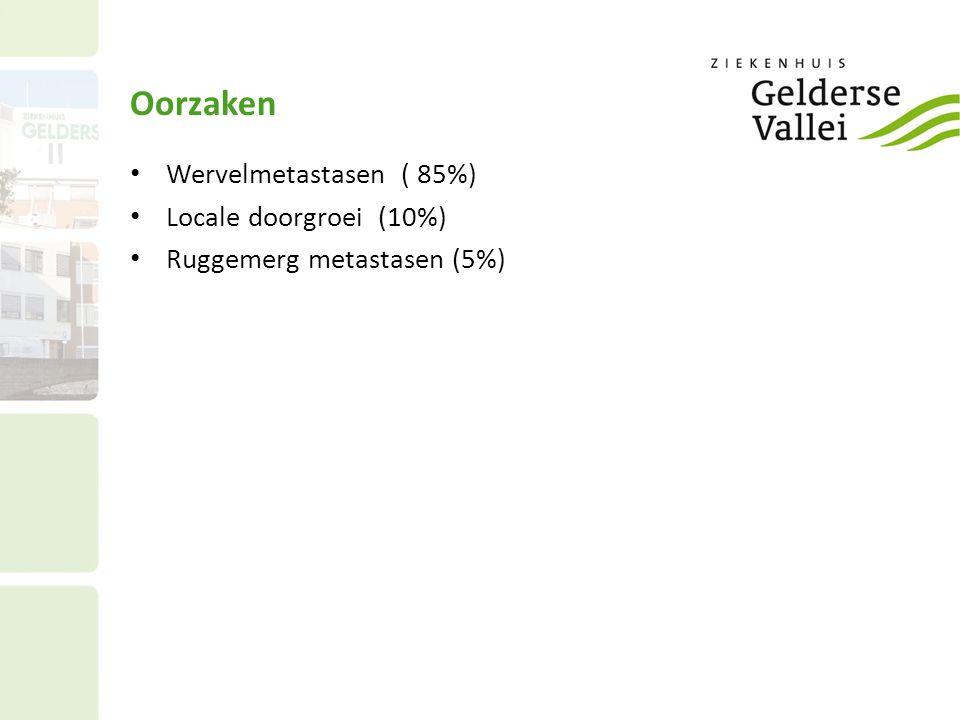 Oorzaken Wervelmetastasen ( 85%) Locale doorgroei (10%)