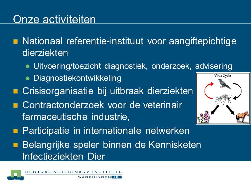 Onze activiteiten Nationaal referentie-instituut voor aangiftepichtige dierziekten. Uitvoering/toezicht diagnostiek, onderzoek, advisering.