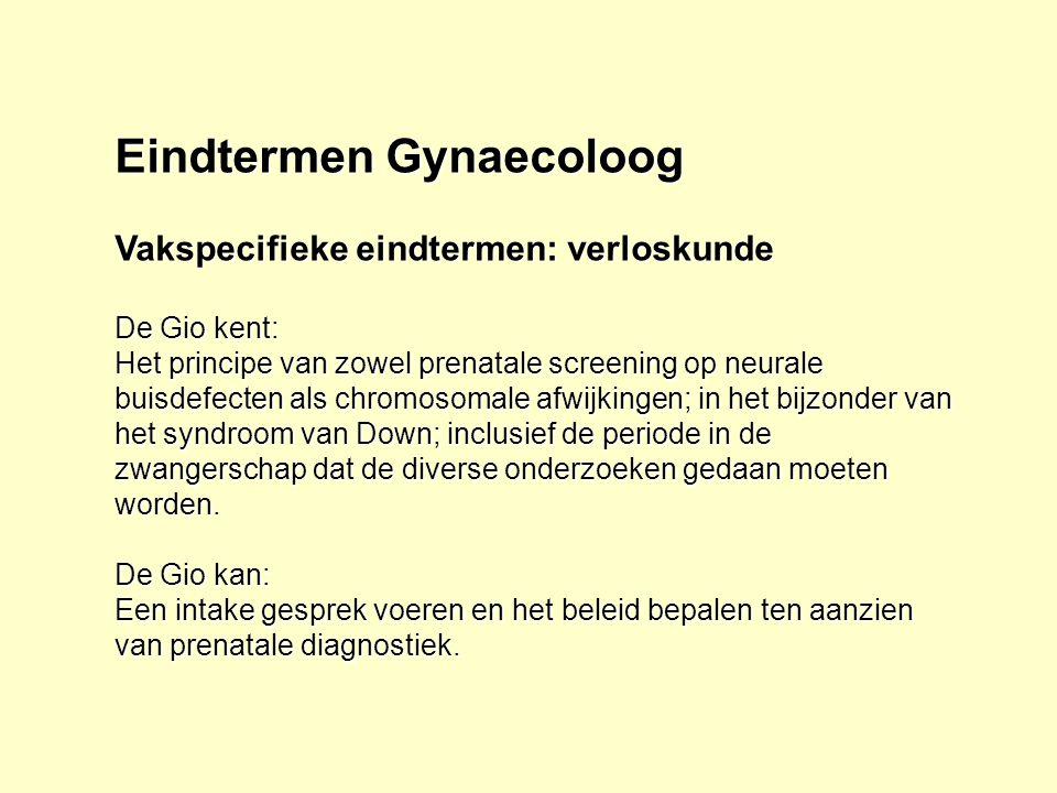 Eindtermen Gynaecoloog