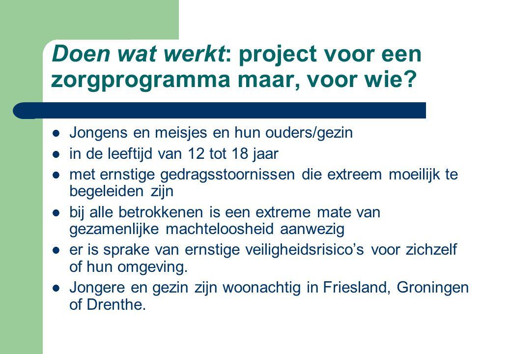 Doen wat werkt: project voor een zorgprogramma maar, voor wie