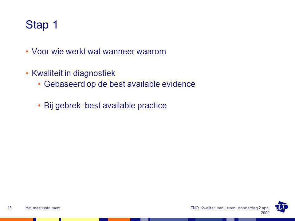 Stap 1 Voor wie werkt wat wanneer waarom Kwaliteit in diagnostiek