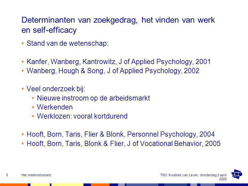 Determinanten van zoekgedrag, het vinden van werk en self-efficacy