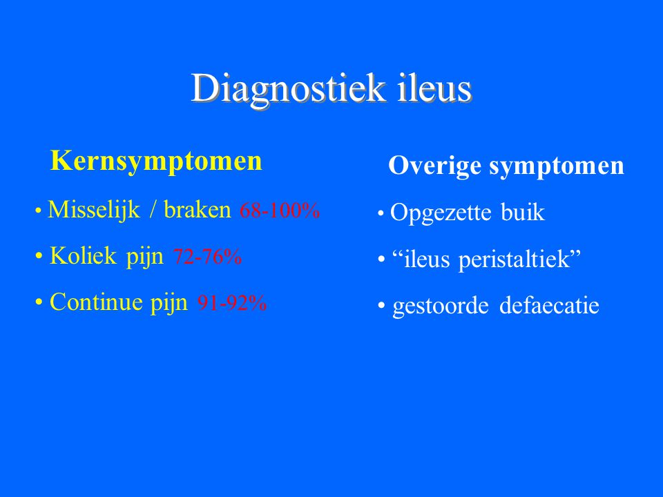 Diagnostiek ileus Kernsymptomen Koliek pijn 72-76%