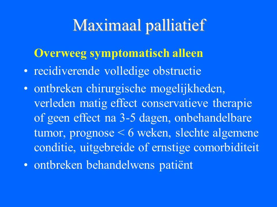 Maximaal palliatief Overweeg symptomatisch alleen