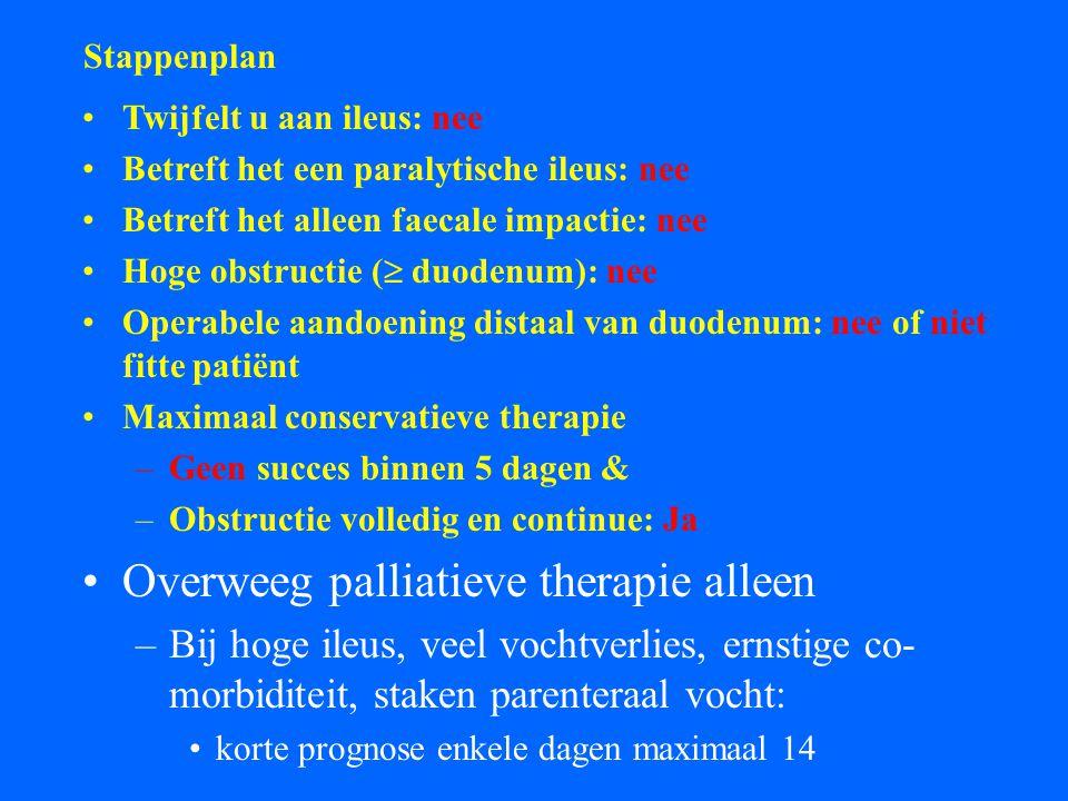 Overweeg palliatieve therapie alleen