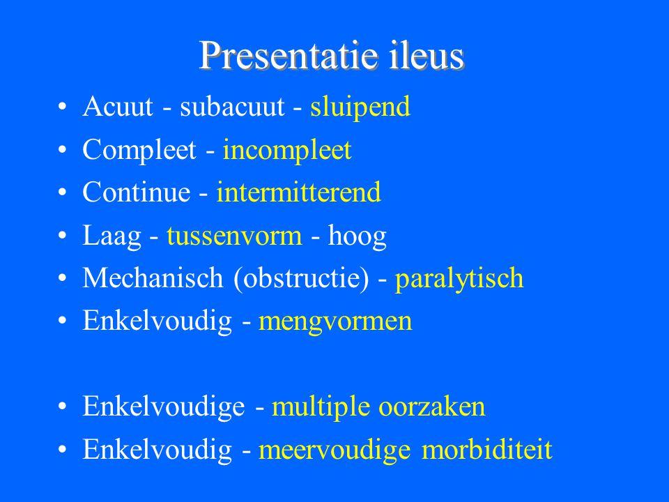 Presentatie ileus Acuut - subacuut - sluipend Compleet - incompleet