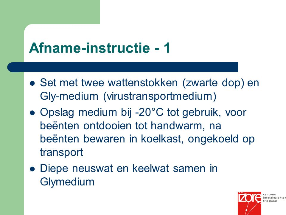 Afname-instructie - 1 Set met twee wattenstokken (zwarte dop) en Gly-medium (virustransportmedium)