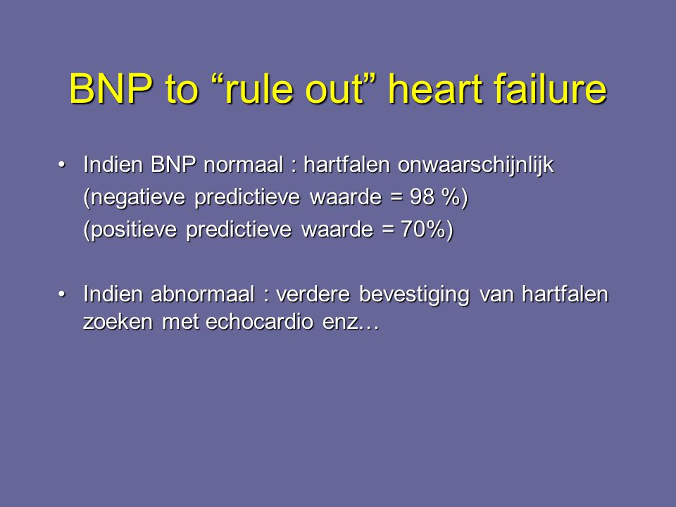 BNP to rule out heart failure