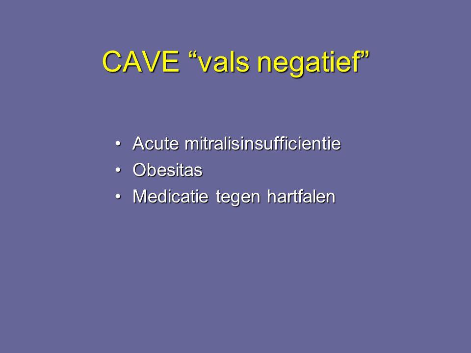 CAVE vals negatief Acute mitralisinsufficientie Obesitas