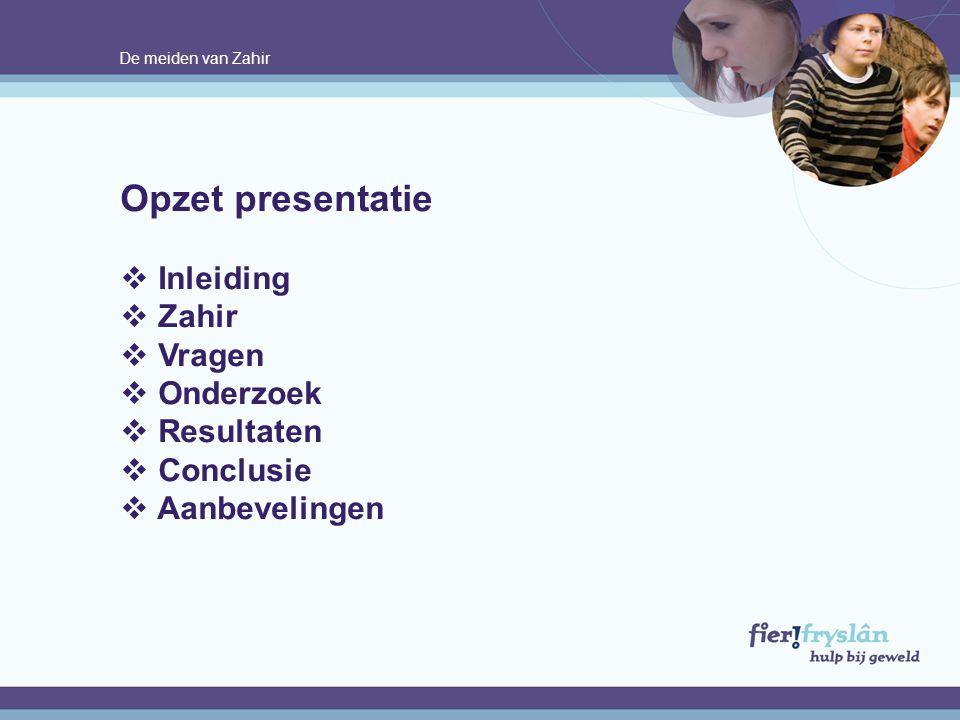 Opzet presentatie Inleiding Zahir Vragen Onderzoek Resultaten