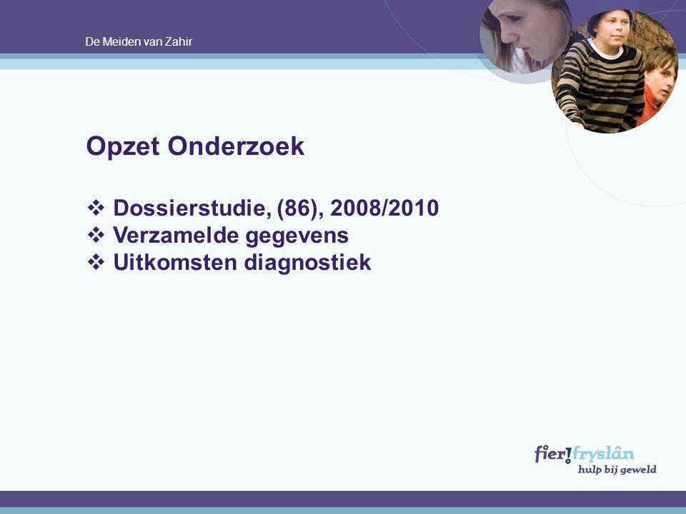 Opzet Onderzoek Dossierstudie, (86), 2008/2010 Verzamelde gegevens