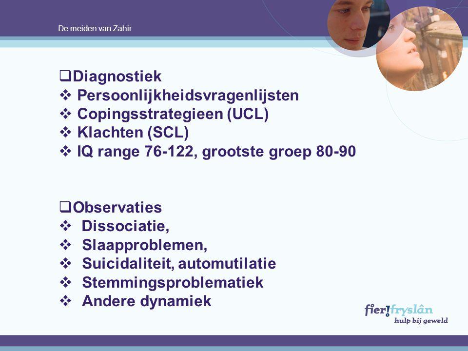 Persoonlijkheidsvragenlijsten Copingsstrategieen (UCL) Klachten (SCL)
