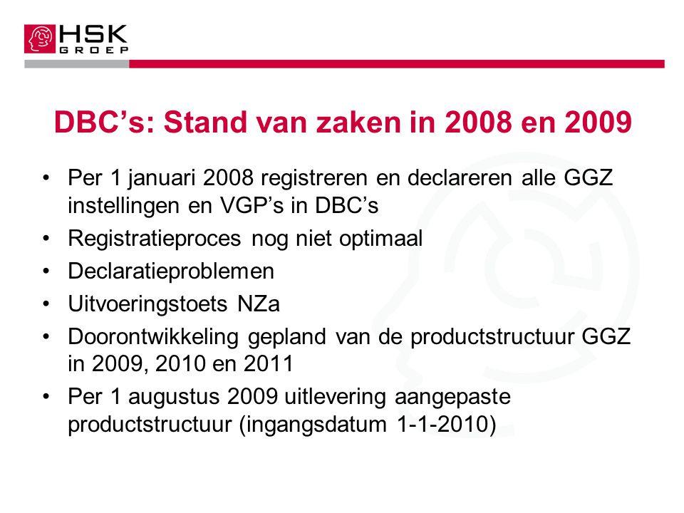 DBC's: Stand van zaken in 2008 en 2009