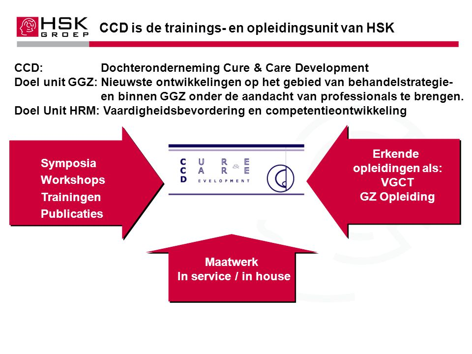 CCD is de trainings- en opleidingsunit van HSK