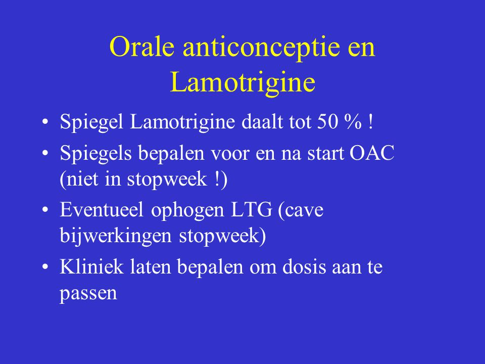 Orale anticonceptie en Lamotrigine