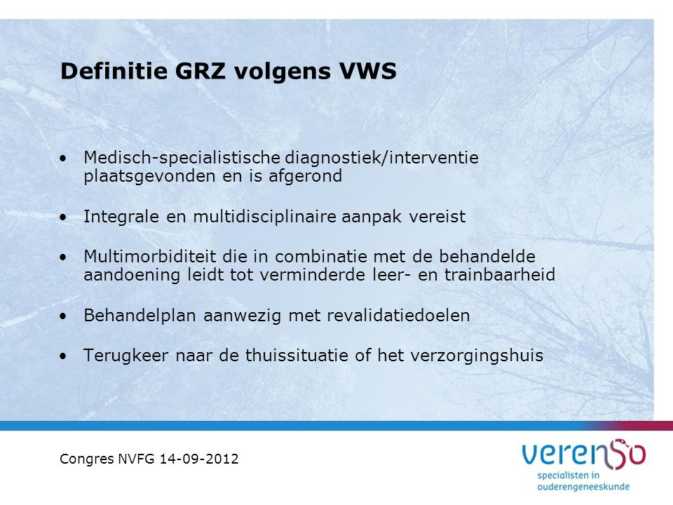 Definitie GRZ volgens VWS