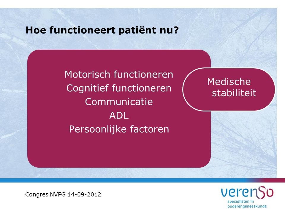 Hoe functioneert patiënt nu