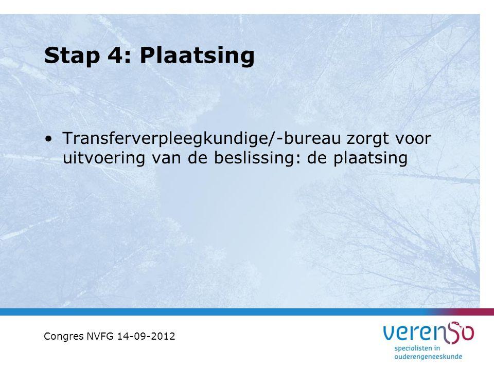Stap 4: Plaatsing Transferverpleegkundige/-bureau zorgt voor uitvoering van de beslissing: de plaatsing.