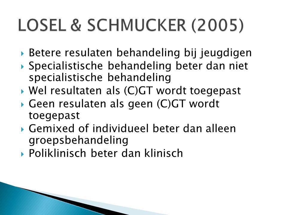 LOSEL & SCHMUCKER (2005) Betere resulaten behandeling bij jeugdigen