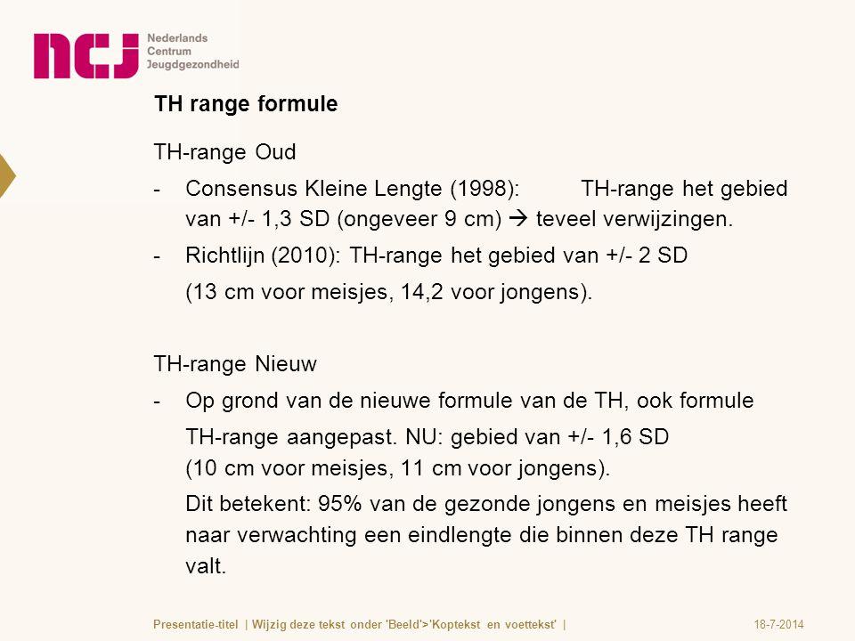 Richtlijn (2010): TH-range het gebied van +/- 2 SD