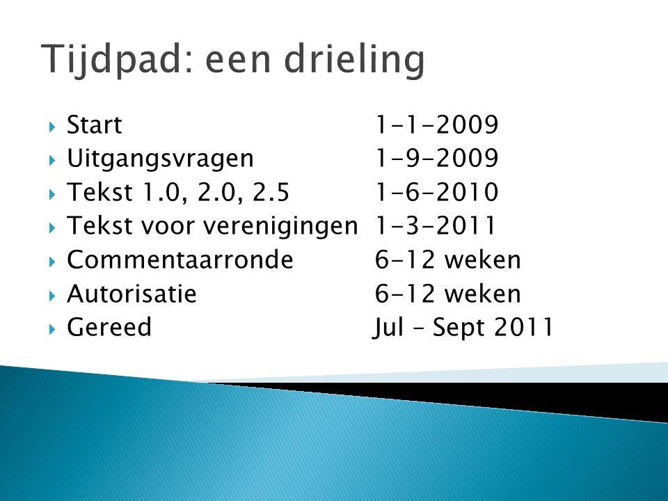 Tijdpad: een drieling Start 1-1-2009 Uitgangsvragen 1-9-2009
