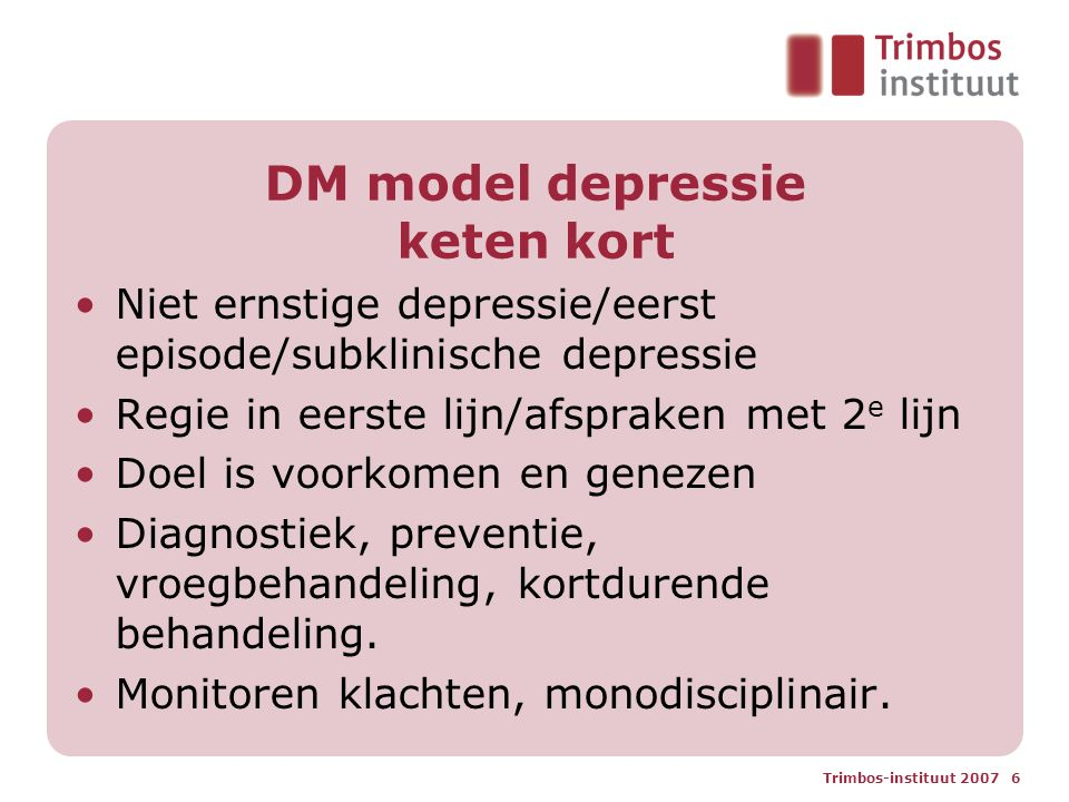 DM model depressie keten kort