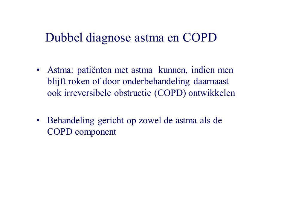 Dubbel diagnose astma en COPD