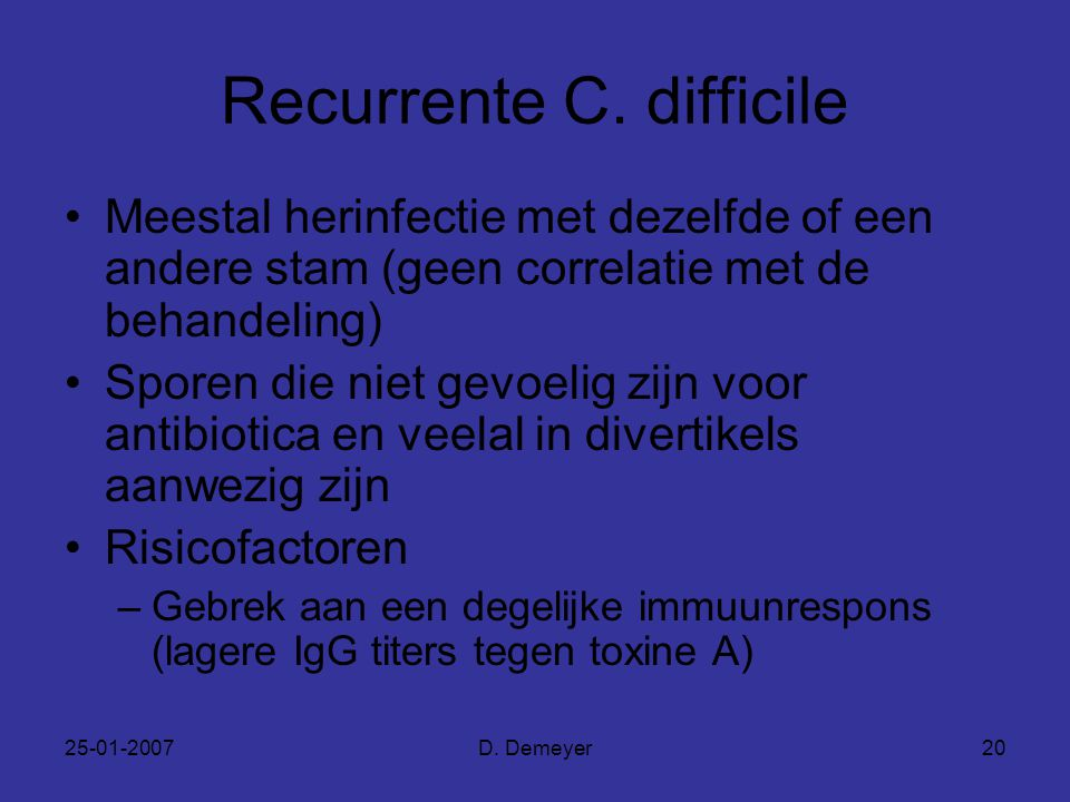 Recurrente C. difficile