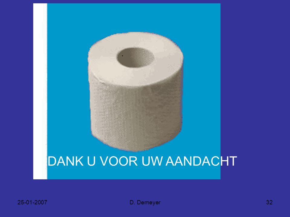 DANK U VOOR UW AANDACHT 25-01-2007 D. Demeyer