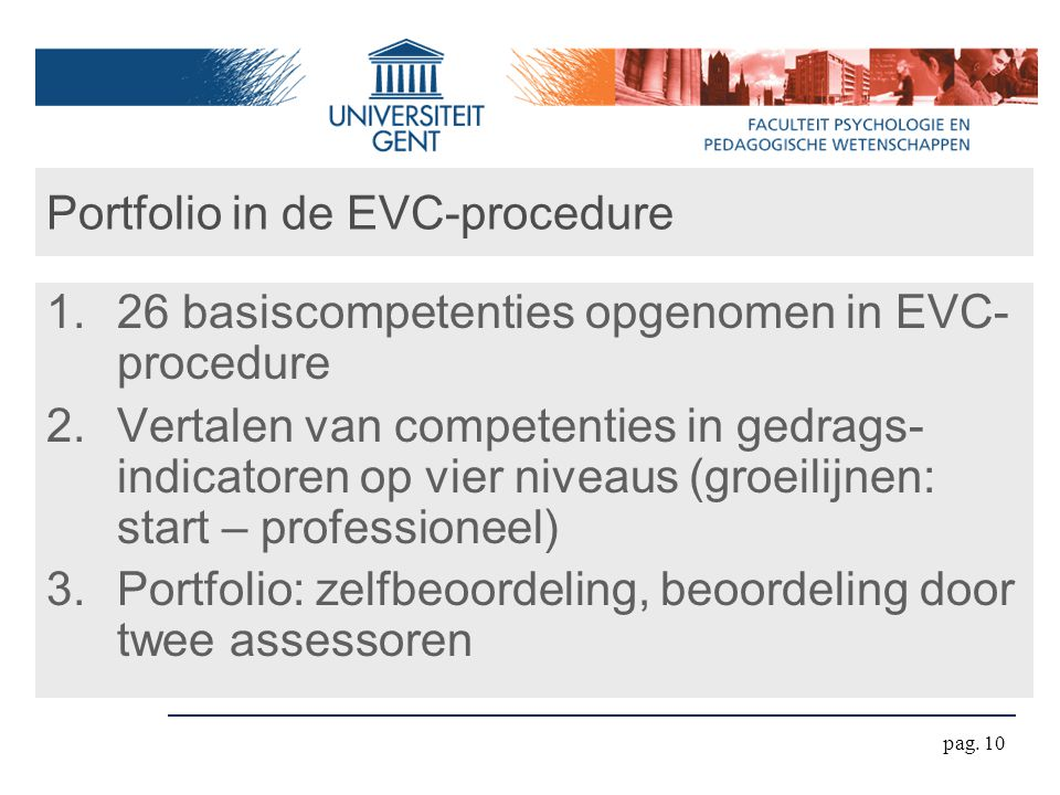 Portfolio in de EVC-procedure