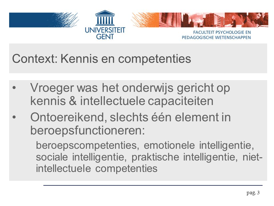 Context: Kennis en competenties