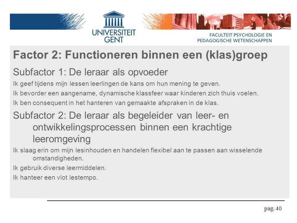 Factor 2: Functioneren binnen een (klas)groep