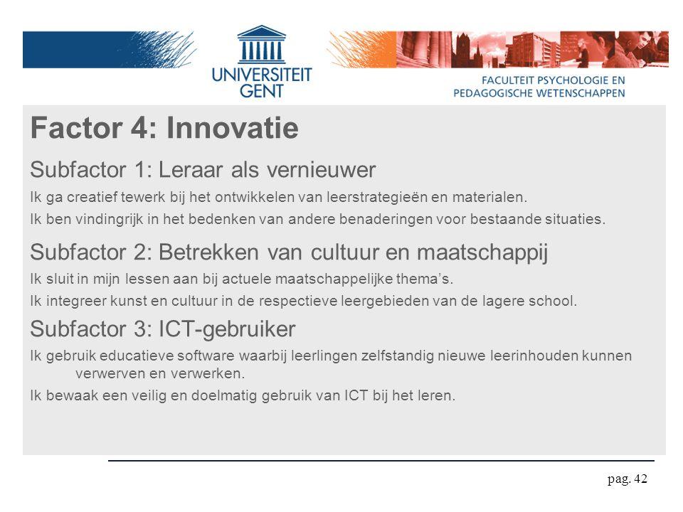 Factor 4: Innovatie Subfactor 1: Leraar als vernieuwer