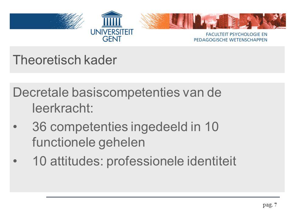 Theoretisch kader Decretale basiscompetenties van de leerkracht: 36 competenties ingedeeld in 10 functionele gehelen.
