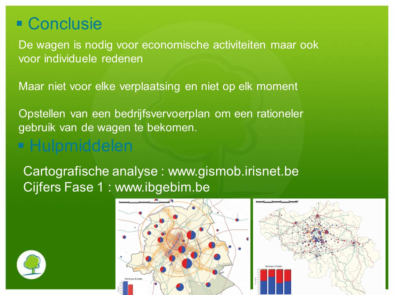 Conclusie Hulpmiddelen Cartografische analyse : www.gismob.irisnet.be