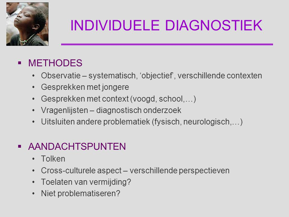INDIVIDUELE DIAGNOSTIEK