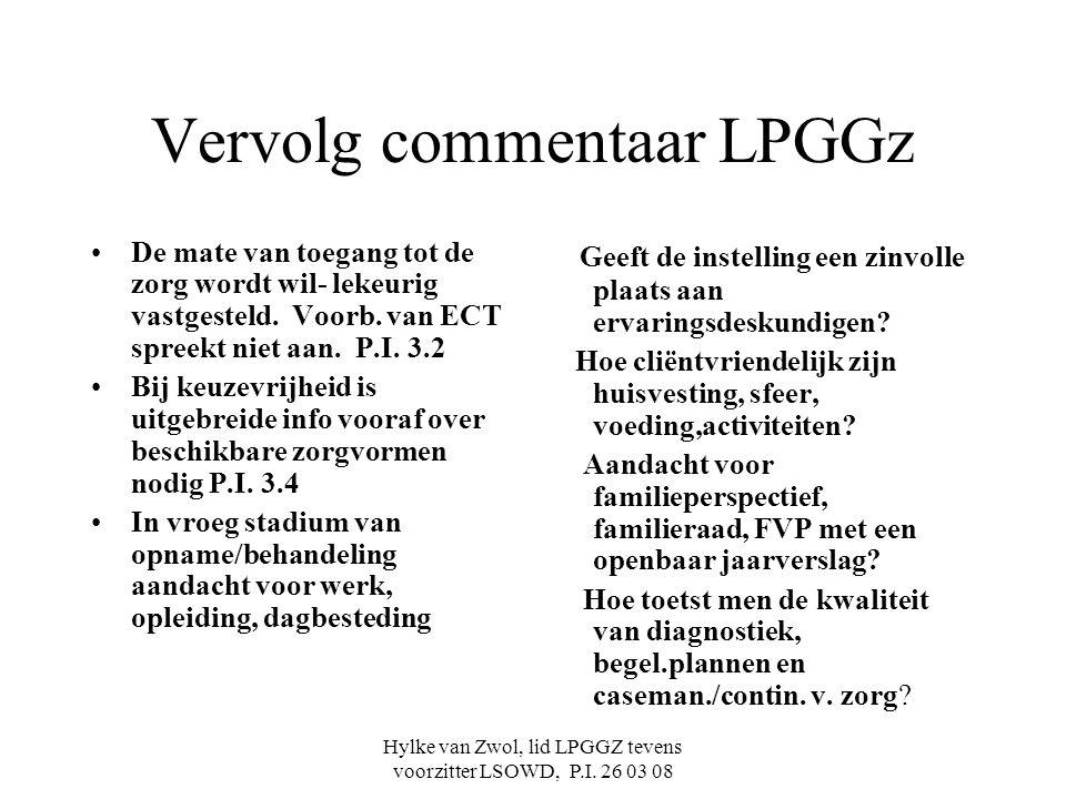 Vervolg commentaar LPGGz
