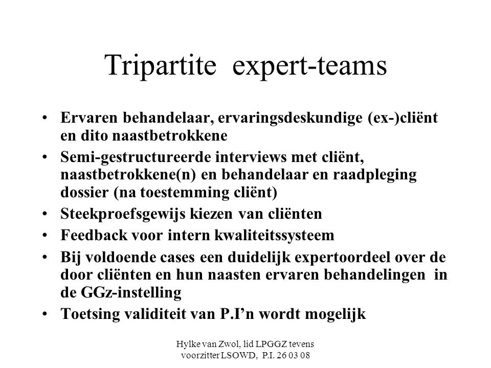 Tripartite expert-teams