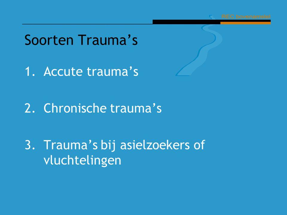 Soorten Trauma's Accute trauma's 2. Chronische trauma's
