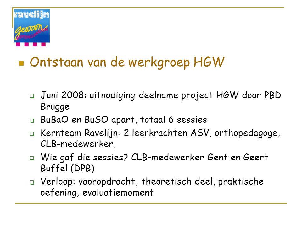 Ontstaan van de werkgroep HGW