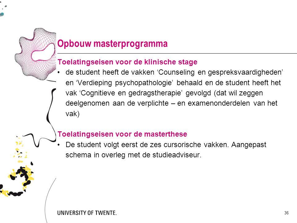 Opbouw masterprogramma