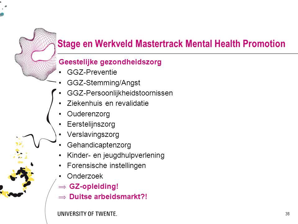 Stage en Werkveld Mastertrack Mental Health Promotion