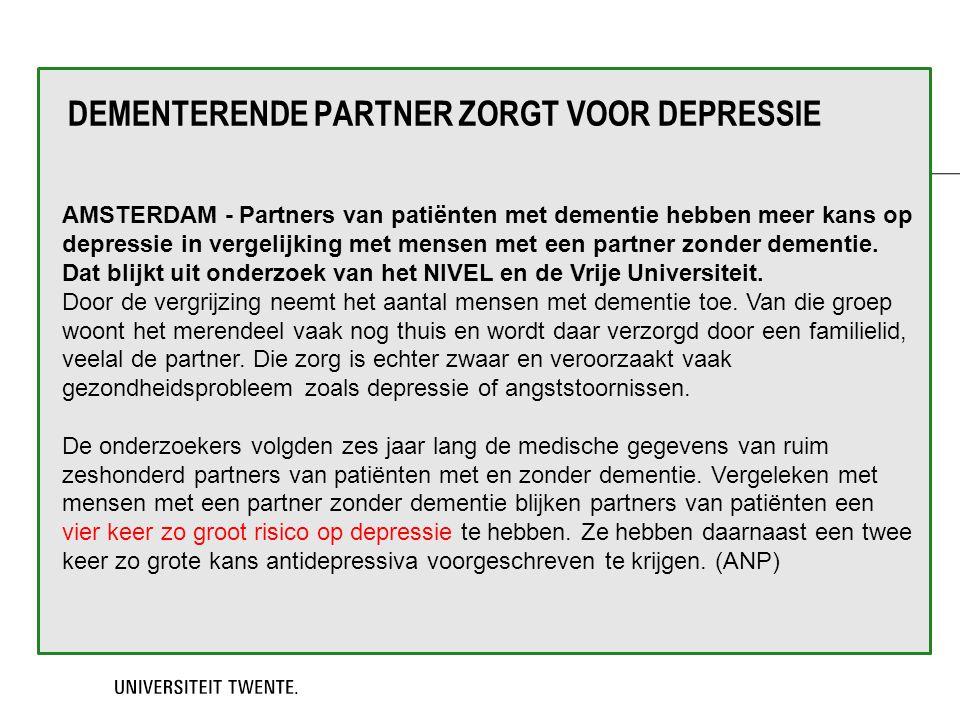 Dementerende partner zorgt voor depressie