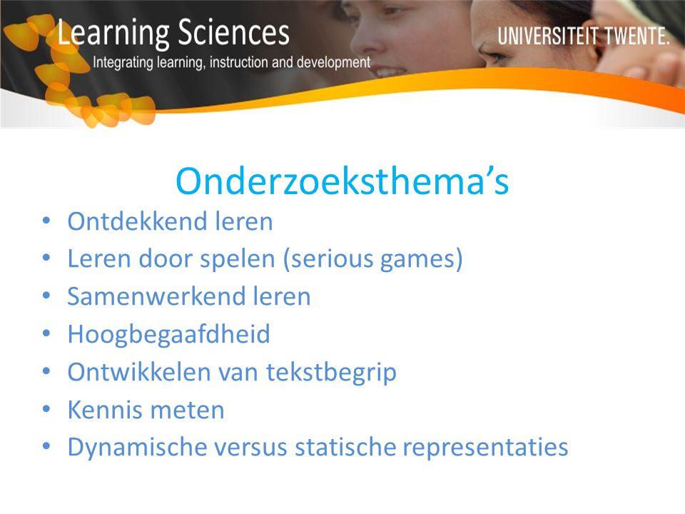 Onderzoeksthema's Ontdekkend leren Leren door spelen (serious games)