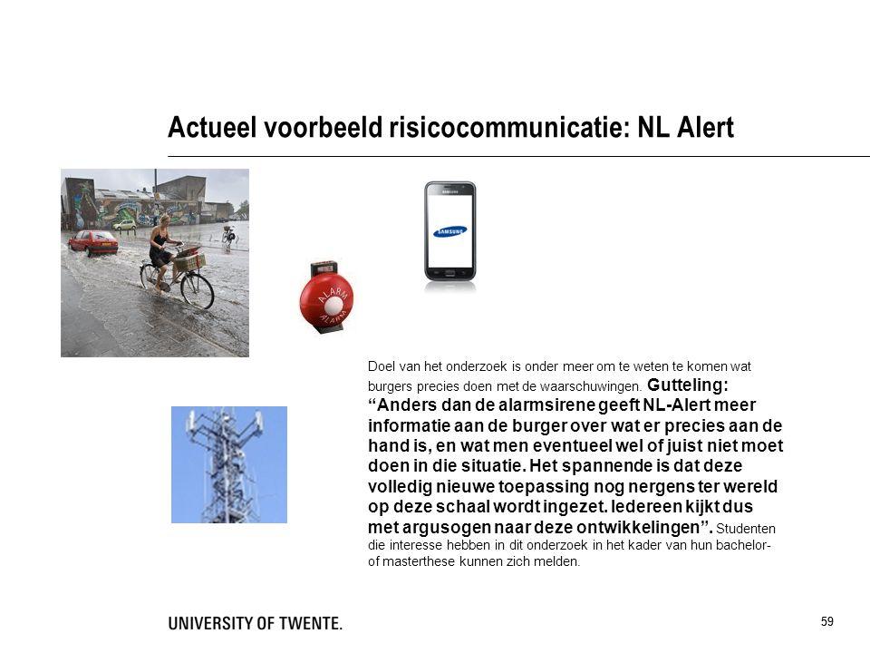 Actueel voorbeeld risicocommunicatie: NL Alert