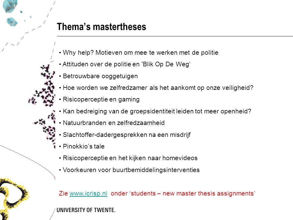 Thema's mastertheses ▪ Why help Motieven om mee te werken met de politie. ▪ Attituden over de politie en Blik Op De Weg'