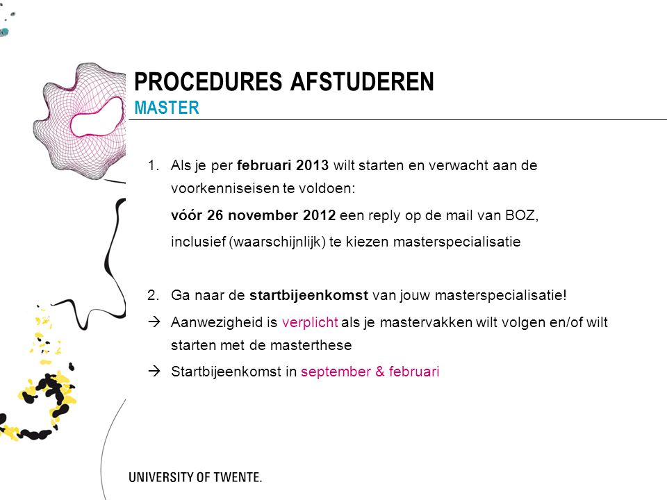 PROCEDURES AFSTUDEREN MASTER
