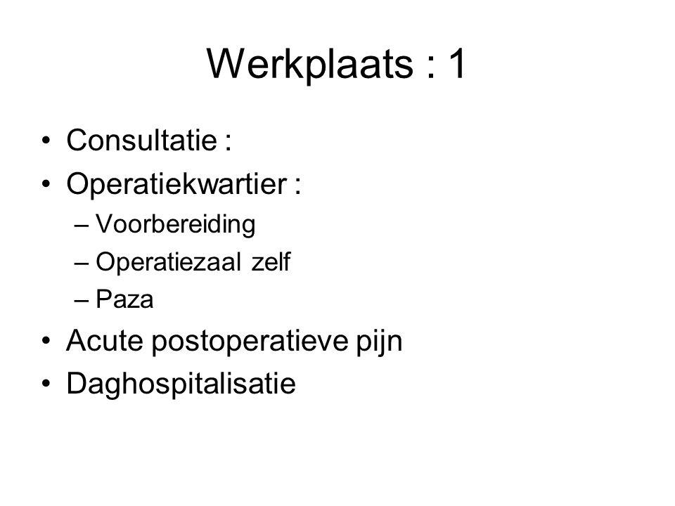 Werkplaats : 1 Consultatie : Operatiekwartier :