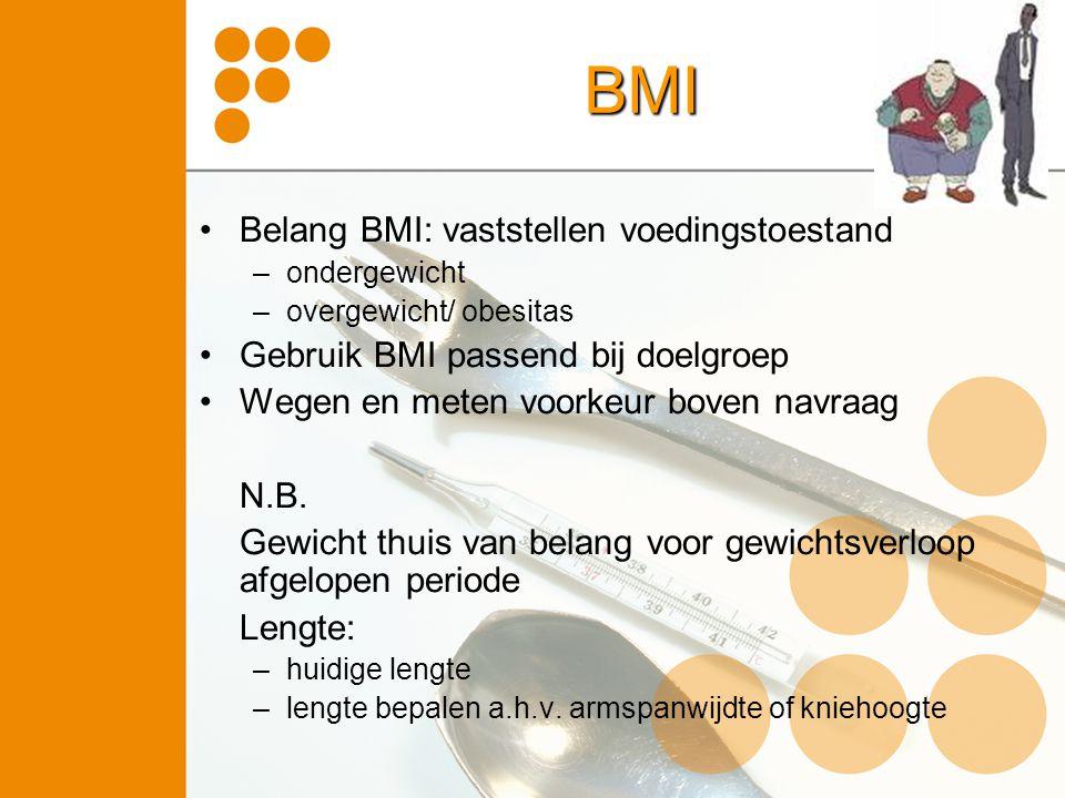 BMI Belang BMI: vaststellen voedingstoestand